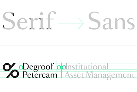 bank degroof petercam part visual identity for the logo we tweaked the serif typeface romain some serif letters turned into sans letters this mix of both tradition and modernity reflects the new