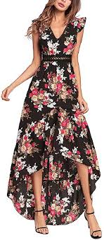 Elegant Backless Floral Maxi Dress High Low Sexy ... - Amazon.com