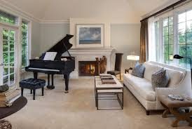 piano room living room traditional with beige carpet black bench black beige living room