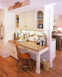 kitchen cabinets home office transitional: butcher block desk home office transitional with built
