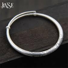 <b>JINSE Love Gift Double</b> Fish Lotus Carved Bangles 100% S999 ...