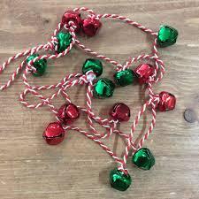 Jingle Bell Garland Gisela Graham Christmas Red Green Mini Jingle Bell Garland Chain