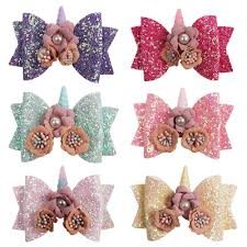 <b>ncmama</b> Flower Pearls Hair Bows For Girls Glitter Hair Clips <b>3</b> ...