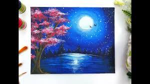 Moonlight Night <b>Landscape Painting</b> + DIY Masking Technique for ...