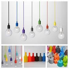 modern colorful silicone pendant lights for bar restaurant e27 pendant lamp hloder 1 meter cable 13 colors vintage edison bulbs cable lighting pendants