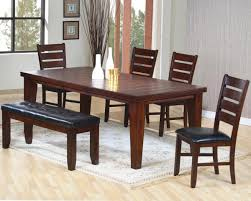 room simple dining sets: simple dining room with cherry finish wood rectangular dining room table black leather upholstered bench