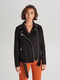 Замшевая <b>байкерская куртка</b> с ремнем, CROPP