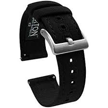 <b>22mm</b> Black - Barton Canvas Quick Release Watch Band Straps ...