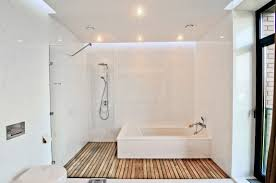 white bathroom floor: modern white bathroom in the style of minimal timber floor ideas and inspirations to your new home homeideaco