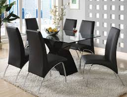 chair dining tables room contemporary: dazzling contemporary dining room furniture set with a table with glass top and unique black base