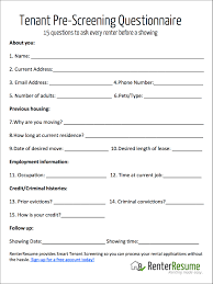 question checklist to ask every renter before a showing your copy of this tenant pre screening questionnaire today
