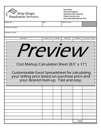 handyman invoice work order change order mark up cost  cost markup calculatorpdf cost markup calculatorxls