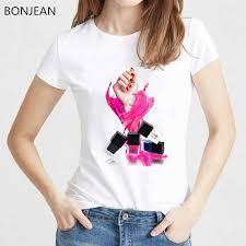 <b>2019</b> Pink <b>Vogue</b> T shirt Women fashion Lipstick Nail Polish tshirt ...