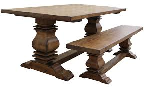 room tables rustic solid wood trestle pedestal