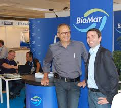 the aquaculturists  michel autin left technical director for biomar west med mathieu castex product manager at lallemand sas presented the results of the research