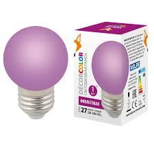 (UL-00005652) <b>Volpe E27 1W</b> фиолетовая <b>LED</b>-<b>G45</b>-<b>1W</b>/PURPLE ...