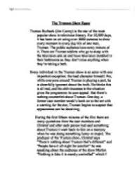 the truman show essay   university media studies   marked by    page  zoom in