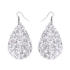New Fashion <b>Drop</b> Earrings Silver <b>Classic</b> Color Pu Leather <b>Water</b> ...