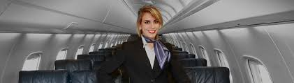 leading regional airline operating as united express and american smiling blonde female flight attendant inside of airplane