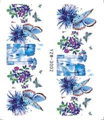 <b>30pcs Mixed</b> Design Nail Stickers Watercolor Floral Flower Sticker ...