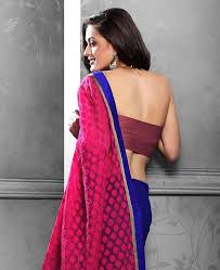 picture of beauteous pink and navy blue brasso saree beauteous pink blue