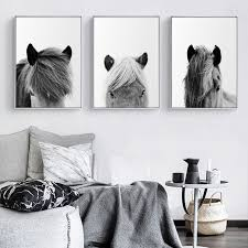 <b>Minimalist Wall Art</b> Canvas Icelandic Horse Posters Black White ...