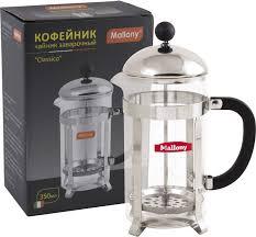 Кофе-пресс <b>Mallony</b> Сlassico, цвет: серебристый, 350 мл ...