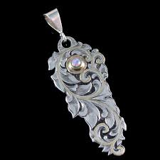 <b>Art</b> Nouveau Inspired <b>Hand Engraved</b> Sterling Pendant With Gold ...
