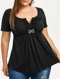 <b>Women L</b>-<b>5XL</b> T-Shirt Blouse Tops Short Sleeve Empire Waist ...