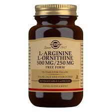 <b>L</b>-<b>Arginine 500 mg</b> / L-Ornithine 250 mg Vegetable <b>Capsules</b> - Pack ...