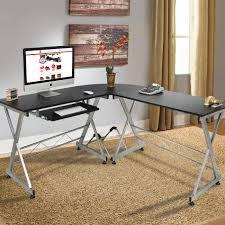 wood l shape corner computer desk pc laptop table workstation home office black besi office computer desk