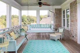 painted wicker furniture in porch beach with ceiling fans area rug beachy style furniture