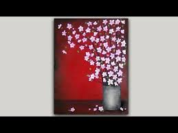 Acrylic <b>Painting Cherry</b> Blossom Branches in a Pewter <b>Vase</b> ...