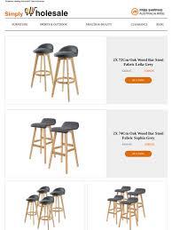 Simply Wholesale: 2X 72Cm Oak Wood Bar <b>Stool</b> Fabric Leila Grey ...