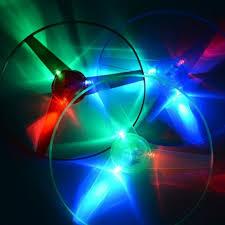 unny Spinning Flyer <b>Luminous</b> Flying UFO LED Light <b>Handle</b> Flash ...