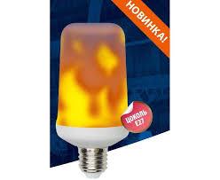 <b>Uniel L60 лампа</b> св/д декорат. <b>E27 6W</b> эффект пламени 135×65 3 ...
