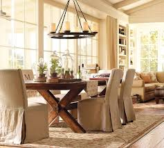 Country Style Dining Room Tables Decoration Ideas Modern Black Metal Chandeliers Also Beige Cotton