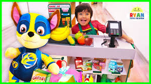 Ryan and Mighty Pups Paw Patrol Toys <b>Pretend Play Grocery</b> Store ...