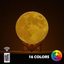 Новый дропшиппинг 3D принт луна лампа красочное изменение ...