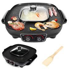 3L <b>Multifunctional Electric</b> BBQ <b>Grill</b> Pan Large <b>Griddle</b> Pot Hotpot ...