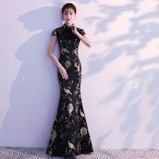 <b>2019 2019</b> Long Cheongsam Sexy <b>Modern Qipao</b> Dress Black ...