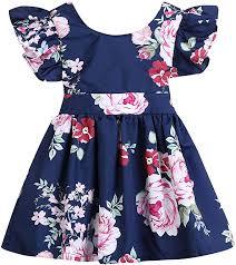 Toddler Kids Baby <b>Girls</b> Flower Ruffle <b>Dress Summer</b> Party <b>Backless</b>