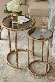 gilt indochine nesting tables art deco nesting tables mirrored iron nesting tables soft art deco style furniture occasional coffee