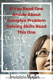 if you one article about complex problem solving skills initial thoughts on complex problem solving skills
