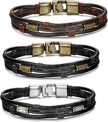 ORAZIO <b>3PCS</b> Leather Bracelet for Men <b>Vintage Braided</b> Wrist Cuff ...