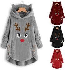Women Winter Plush Coat Reindeer Pattern Casual Hooded ... - Vova