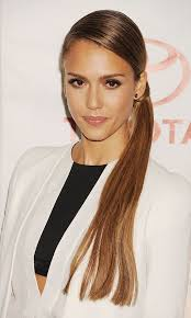 Jessica Alba's braided side ponytail hairstyle. Photo: Getty Images - jessica-alba-hairstyle-braided-side-ponytail-front