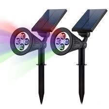 <b>2PCS Solar</b> Light 4LEDs RGB Color changeable <b>Spotlight</b> IP44 ...