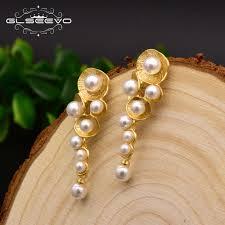 GLSEEVO <b>Fashionable</b> White Shell <b>Pearl</b> Drop Earrings For Women ...