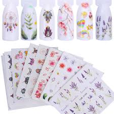 FWC <b>12 PCS Nail Stickers Water Decals</b> Butterfly Rose / Wolf ...
